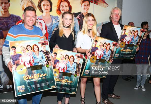 Peter Plate Lina Larissa Strahl Lisa Maria Koroll and director Detlev Buck attend the Bibi and Tina photo call and award reception at Atelier on June...