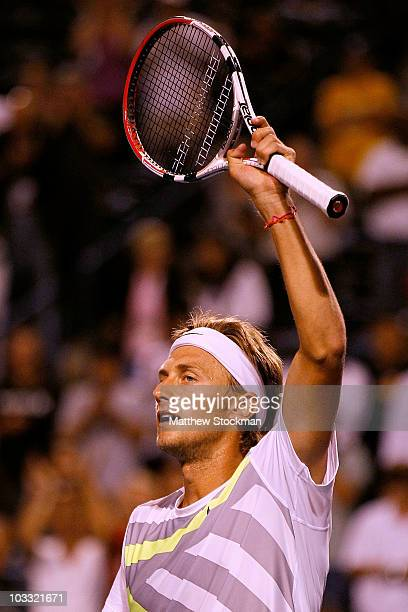 Peter Polansky of Canada celebrates his win over Jurgen Melzer of Austria during the Rogers Cup at the Rexall Centre on August 9, 2010 in Toronto,...