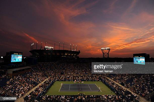 Peter Polansky of Canada serves against James Blake of the United States during his men's singles match on day four of the 2010 US Open at the USTA...