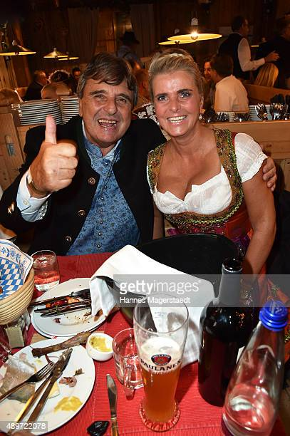 Peter Pongratz and Michaela Portner attend the Radio Gong 963 Wiesn at Weinzelt during the Oktoberfest 2015 on September 23 2015 in Munich Germany