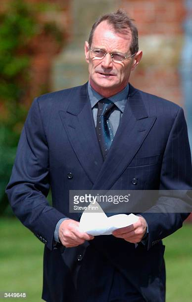 Peter Powell leaves the Funeral of Caron Keating following her death from breast cancer last week at Hever Church in Edenbridge on April 20 2004 in...