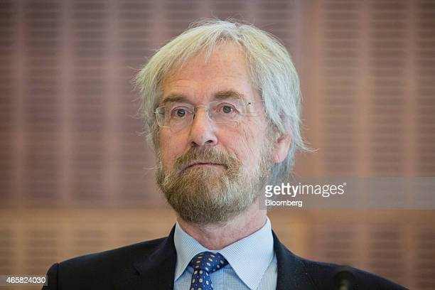 Peter Praet chief economist at the European Central Bank pauses as he addresses the European Central Bank and its watchers conference in Frankfurt...