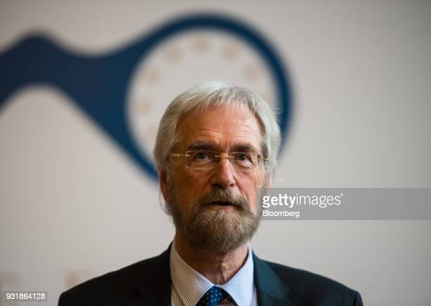 Peter Praet chief economist at the European Central Bank speaks at the 'ECB and its Watchers' conference in Frankfurt Germany on Wednesday March 14...