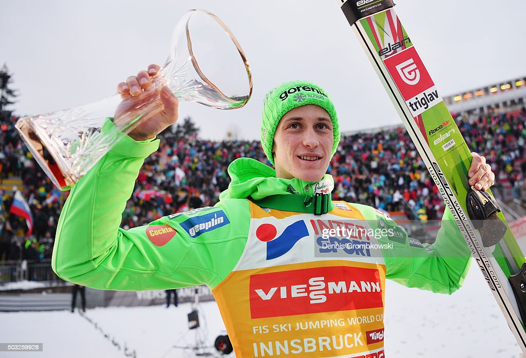 Peter Prevc of Slovenia celebrates as he wins the Innsbruck 64th Four Hills Tournament ski jumping event on January 3, 2016 in Innsbruck, Austria.
