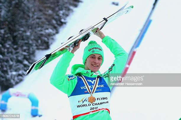 Peter Prevc of Slovenia celebrates winning the first place of the FIS Ski Flying World Championship 2016 during day 3 at the Kulm on January 16 2016...
