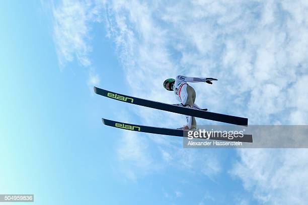 Peter Prevc of Slovenia competes at the qualification round for the FIS Ski Flying World Championship 2016 during day 1 at the Kulm on January 14...