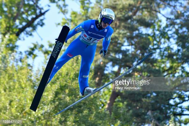 Peter Prevc of Slovenia competes during the FIS Grand Prix Skijumping Hinzenbach at on February 6, 2021 in Eferding, Austria.