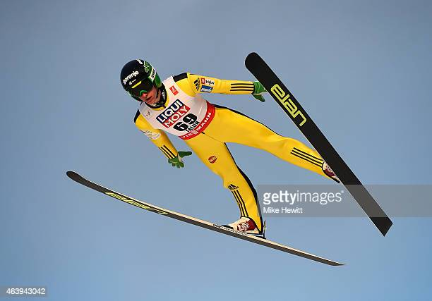 Peter Prevc of Slovenia competes during the Men's HS100 Normal Hill Ski Jumping trial during the FIS Nordic World Ski Championships at the Lugnet...