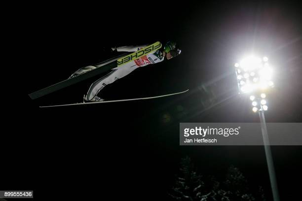 Peter Prevc of Slovenia competes during the qualification round for the Four Hills Tournament on December 29 2017 in Oberstdorf Germany