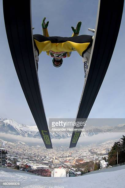 Peter Prevc of Slovenia competes on day 5 of the Four Hills Tournament Ski Jumping event at BergiselSchanze on January 3 2015 in Innsbruck Austria