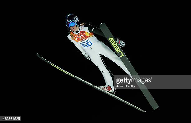 Peter Prevc of Slovenia jumps during the Men's Large Hill Individual Qualification on day 7 of the Sochi 2014 Winter Olympics at the RusSki Gorki Ski...