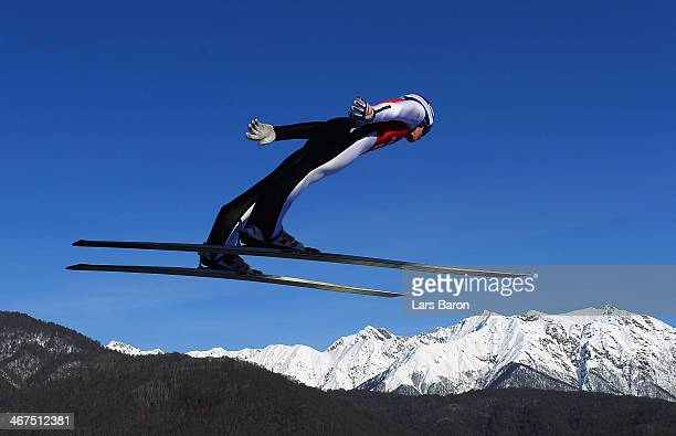 Peter Prevc of Slovenia jumps during the Men's Normal Hill Individual training ahead of the Sochi 2014 Winter Olympics at the RusSki Gorki Ski...