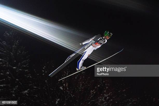 Peter Prevc of Slovenia soars through the air during his first competition jump on Day 2 on January 6 2017 in Bischofshofen Austria
