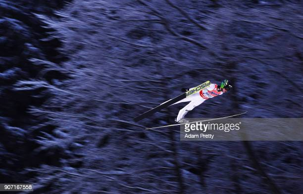 Peter Prevc of Slovenia soars through the air during his first competition jump of the Ski Flying World Championships on January 19 2018 in...