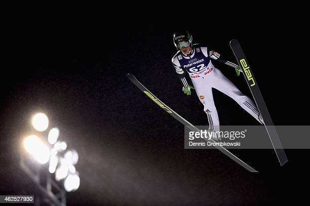 Peter Prevc of Slovenia soars through the air during his first round jump on Day One of the FIS Ski Jumping World Cup on January 30 2015 in Willingen...