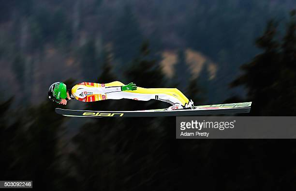 Peter Prevc of Slovenia soars through the air during his practice jump on Day 2 of the 64th Four Hills tounament on January 1 2016 in...