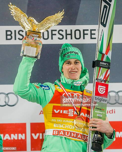 Peter Prevc of Slovenia takes 1st place the FIS Nordic World Cup Four Hills Tournament on January 6 2016 in Bischofshofen Austria