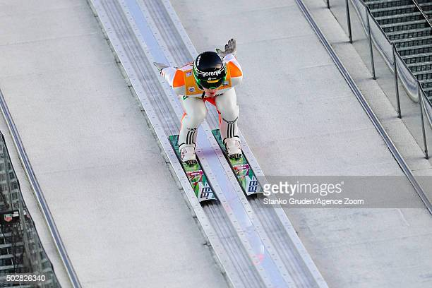 Peter Prevc of Slovenia takes 3rd place during the FIS Nordic World Cup Four Hills Tournament on December 29 2015 in Oberstdorf Germany