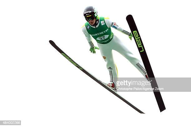 Peter Prevc of Slovenia takes 3rd place during the FIS Ski Jumping Grand Prix Men's HS132 and Women's HS96 in Courchevel France