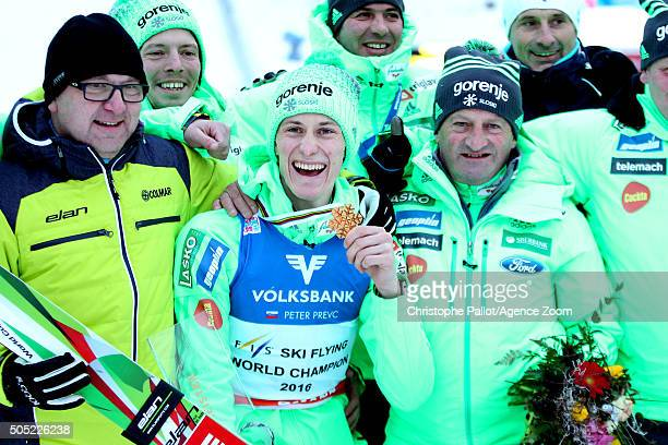 Peter Prevc of Slovenia takes gold medals during the FIS Ski Flying World Championships Men's HS225 on January 16 2016 in Bad Mitterndorf Austria