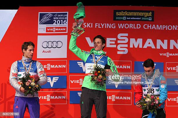 Peter Prevc of Slovenia takes gold medals Kenneth Gangnes of Norway takes silver medals Stefan Kraft of Austria takes bronz medals during the FIS Ski...