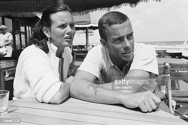 Peter Pulitzer grandson of press magnate Joseph Pulitzer with his wife Lilly at Palm Beach Florida circa 1955