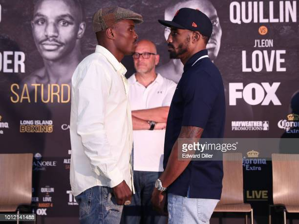 Peter Quillin and J'u2019Leon Love face off for members of the media as Lou DiBella looks on at Nassau Veterans Memorial Coliseum on August 2 2018 in...
