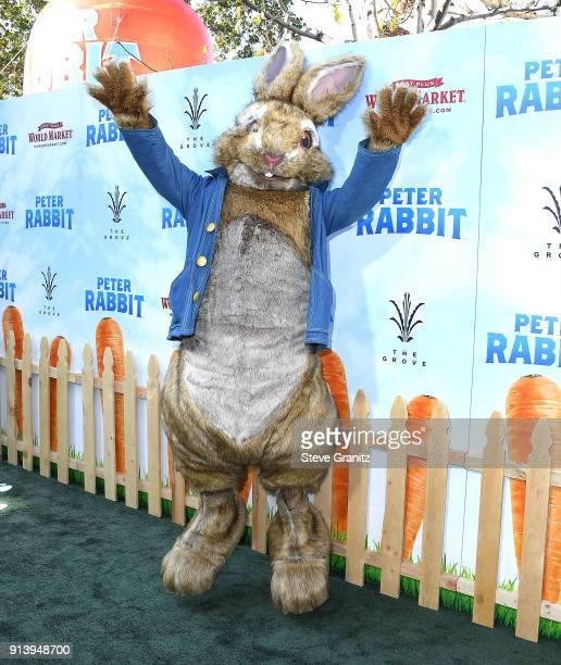Peter Rabbit arrives at the Premiere Of Columbia Pictures' 'Peter Rabbit' at The Grove on February 3 2018 in Los Angeles California