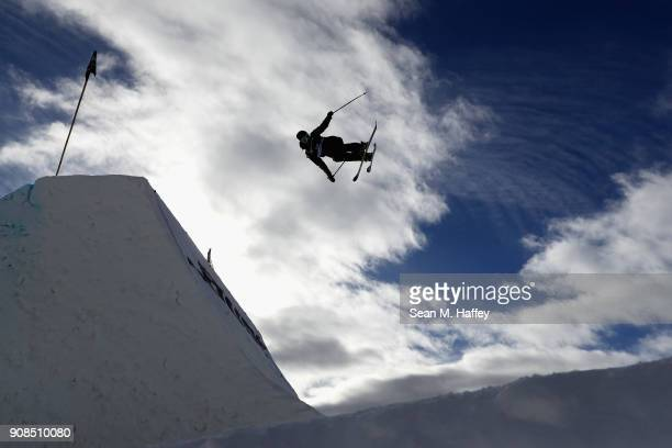 Peter Raich competes in the final round of the Men's Freeski Slopestyle during the Toyota US Grand Prix on on January 21 2018 in Mammoth California