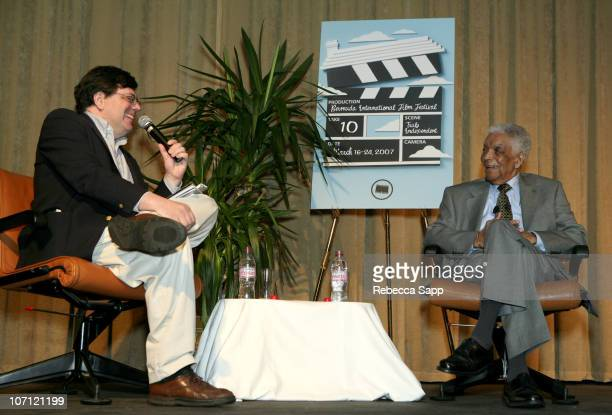 Peter Rainer and Earl Cameron during 10th Annual Bermuda International Film Festival A Conversation with Earl Cameron at Liberty Theatre in Hamilton...