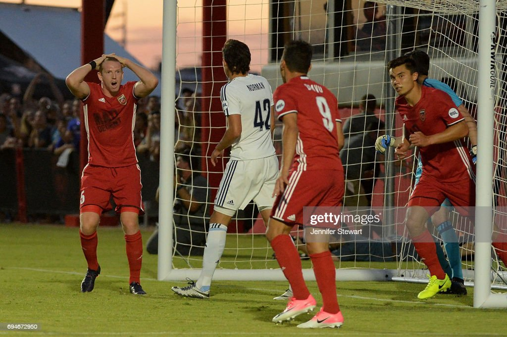 Peter Ramage #5 of Phoenix Rising FC reacts after an attempted goal in the first half against the Vancouver Whitecaps II at Phoenix Rising Soccer Complex on June 10, 2017 in Phoenix, Arizona.