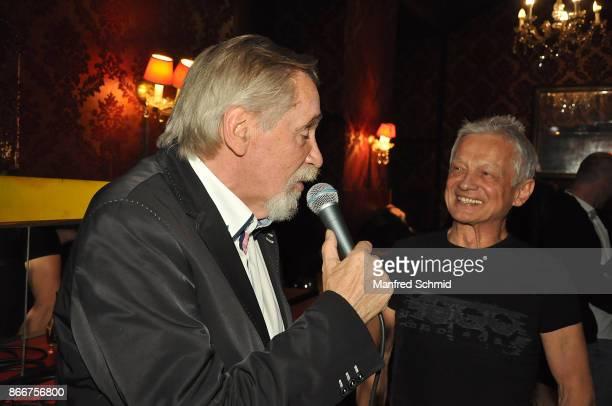 Peter Rapp and Boris Bukowski on stage presents his new album 'Gibt's ein Leben vor dem Tod' at Cafe Jenseits on October 19 2017 in Vienna Austria