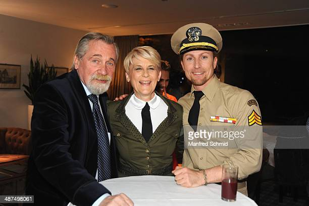 Peter Rapp Lisbeth Bischoff and Gerhard Egger attend the 'Dancing Stars' presscall at Parkhotel Schoenbrunn on April 30 2014 in Vienna Austria