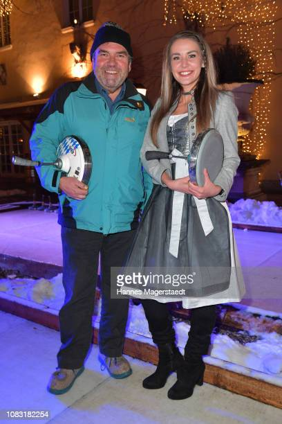 Peter Rappenglueck and Katharina Botzenhart attend the Angermaier 'Eisstock WM' at Park Cafe on January 15 2019 in Munich Germany