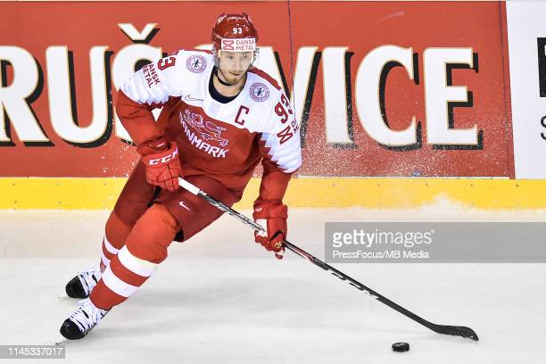 Peter Regin of Denmark controls the puck during the 2019 IIHF Ice Hockey World Championship Slovakia group A game between Slovakia and Denmark at...