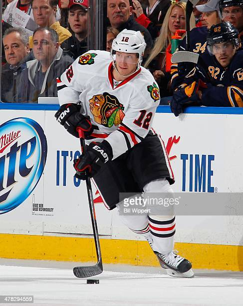 Peter Regin of the Chicago Blackhawks skates against the Buffalo Sabres on March 9, 2014 at the First Niagara Center in Buffalo, New York.