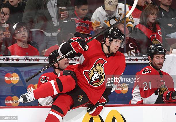 Peter Regin of the Ottawa Senators hops over the boards for a shift against the Washington Capitals in his first career NHL game at Scotiabank Place...