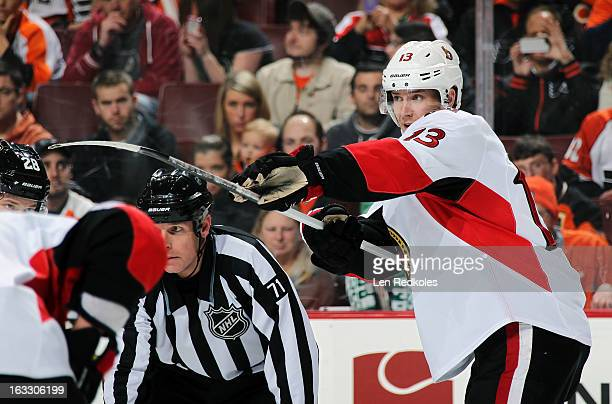 Peter Regin of the Ottawa Senators motions to a teammate prior to a faceoff against the Philadelphia Flyers on March 2, 2013 at the Wells Fargo...