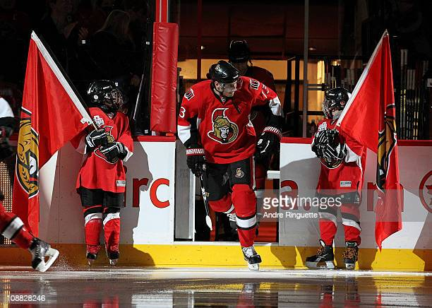 Peter Regin of the Ottawa Senators steps onto the ice during player introductions prior to a game against the Buffalo Sabres at Scotiabank Place on...