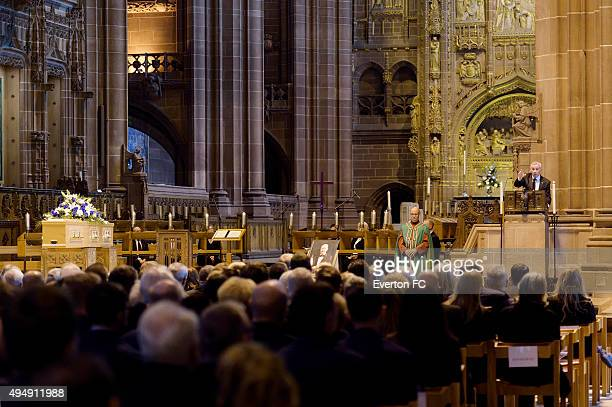 Peter Reid gives his eulogy during the funeral of Howard Kendall at Liverpool Anglican Cathedral on October 29 2015 in Liverpool England