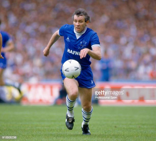 Peter Reid of Everton in action during the FA Cup Final between Manchester United and Everton at Wembley Stadium on May 18 1985 in London England