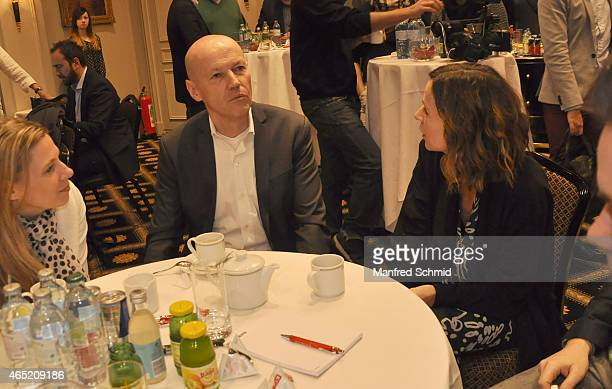 Peter Resetarits and Doris Schretzmayer attend the Romy Award 2015 press conference at Hotel Bristol on March 4 2015 in Vienna Austria