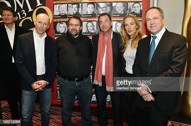 Peter Resetarits Wolfgang Bachofner Dietrich Siegl Lilian Klebow and Richard Grasl pose during the press conference for Kurier Romy Gala 2013 at...