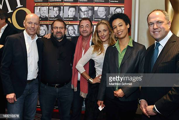 Peter Resetarits Wolfgang Bachofner Dietrich Siegl Lilian Klebow Claudia Unterweger and Richard Grasl pose during the press conference for Kurier...