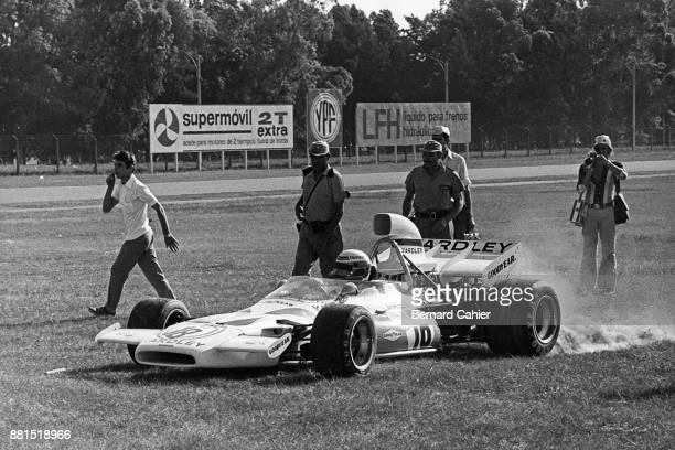 Peter Revson McLarenFord M19A Grand Prix of Argentina Autodromo Oscar Alfredo Galvez Buenos Aires 23 January 1972 Peter Revson spun of the track...