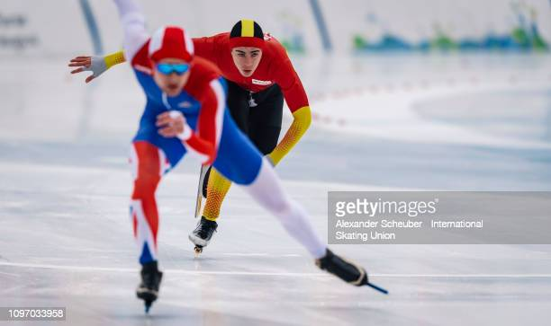 Peter Riches of the UK competes in the Mens 500m sprint race during the ISU Junior World Cup Speed Skating Final Day 2 on February 9 2019 in Trento...