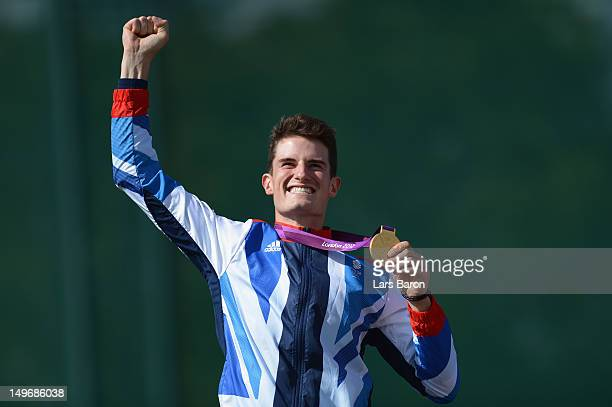 Peter Robert Russel Wilson of Great Britain celebrates with his gold medal during the medal ceremoy following the Men's Double Trap Shooting final on...