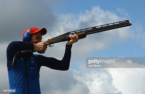 Peter Robert Russel Wilson of Great Britain competes in the Men's Double Trap Shooting qualification on Day 6 of the London 2012 Olympic Games at The...