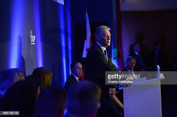 Peter Robinson makes his farewell speech as party leader during the Democratic Unionist Party annual conference at La Mon Hotel on November 21, 2015...