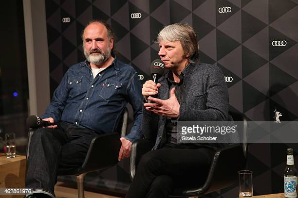 Peter Rommel and Andreas Dresen speak at the Berlinale Open House at the AUDI Lounge during the 65th Berlinale International Film Festival at on...